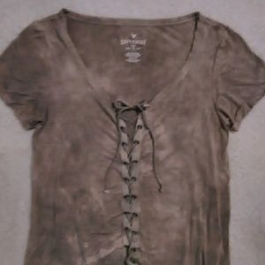 American Eagle Ladies Soft & Sexy Lace Up Tee